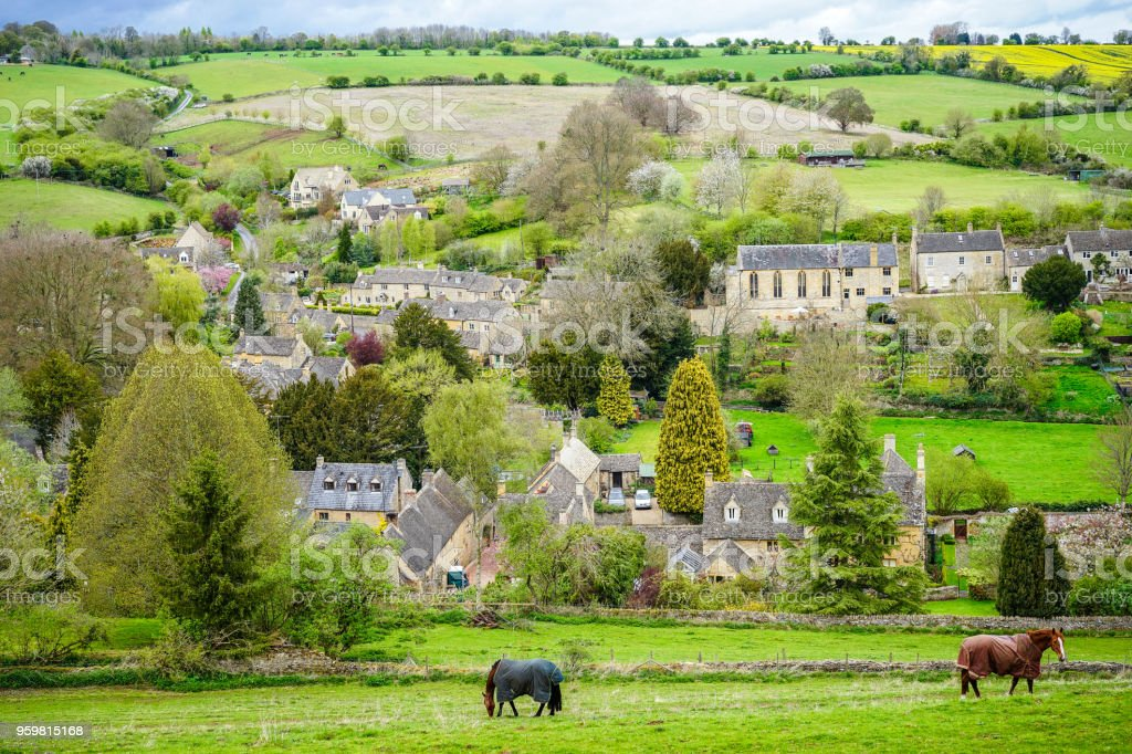Picturesque View of Naunton Village, Cotswold royalty-free stock photo