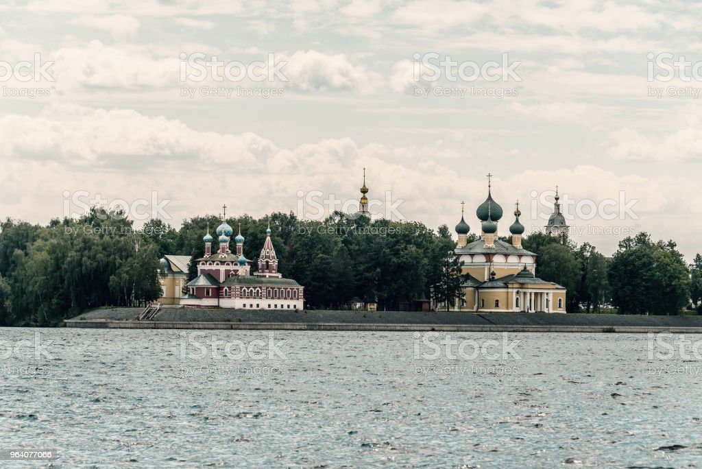 Picturesque view of Uglich from the Volga river. - Royalty-free Architectural Dome Stock Photo