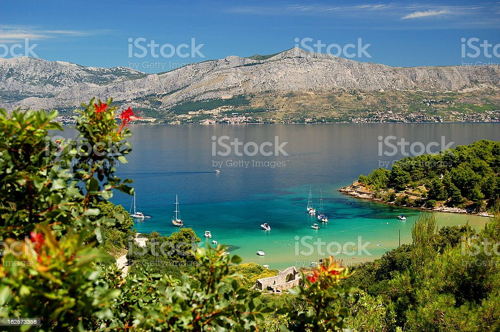 Picturesque view on Lovrecina beach - Brac island, Croatia Lovrecina - sandy beach on Brac island in Croatia Adriatic Sea Stock Photo