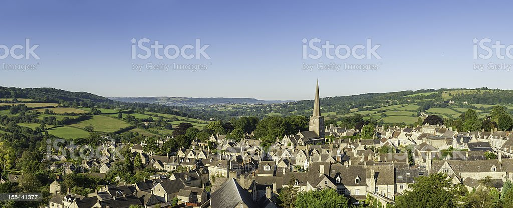 Picturesque village idyllic summer rural landscape aerial panorama stock photo