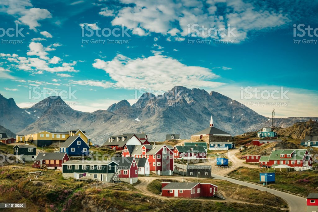 Picturesque village in Greenland with colorful houses stock photo