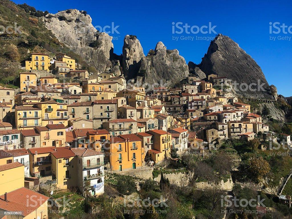 Picturesque village of Castelmezzano in Basilicata stock photo