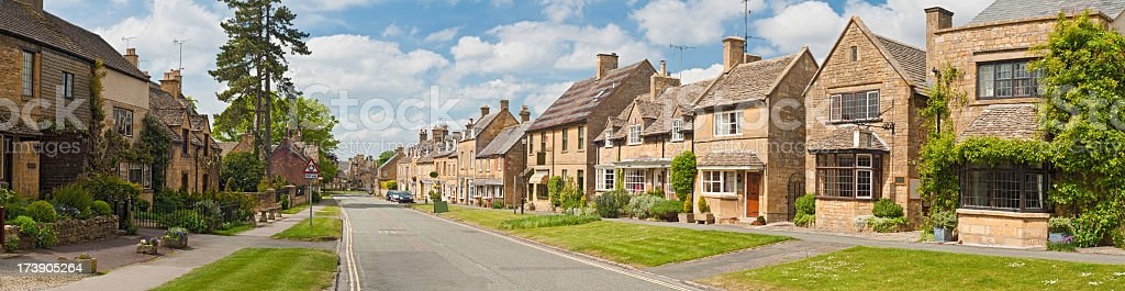 Picturesque village street panorama stock photo