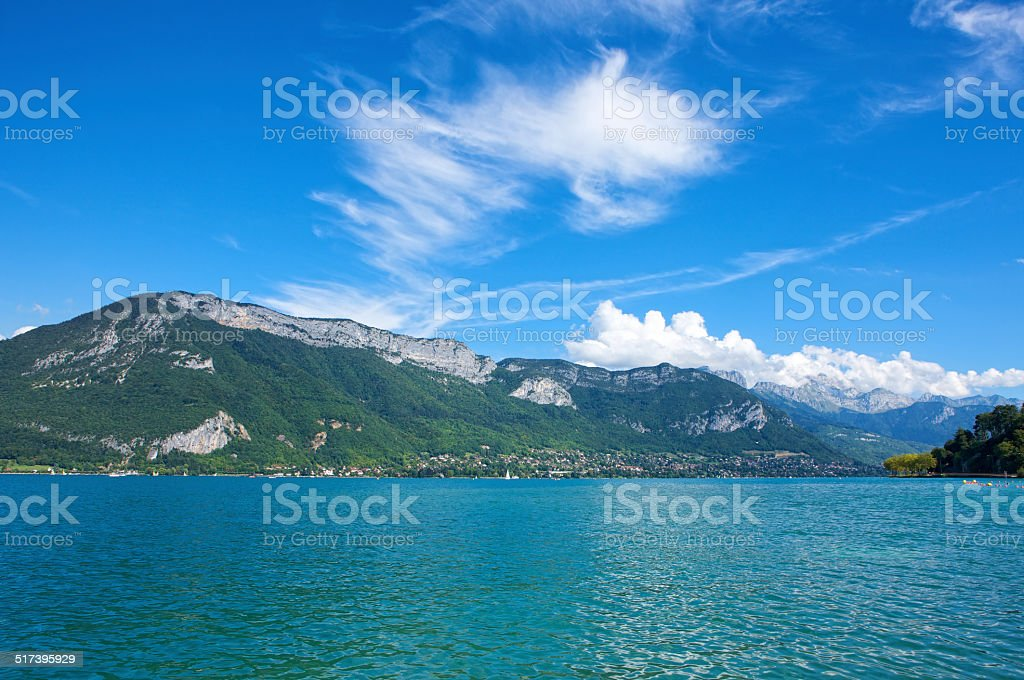 Picturesque waters of Lake Annecy in France on summer's day stock photo