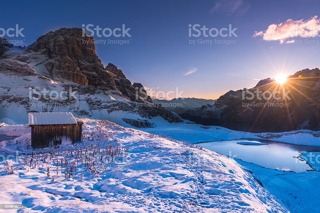 picturesque winter in Dolomites stock photo