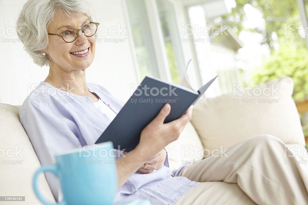 Picturing a scene from her book stock photo