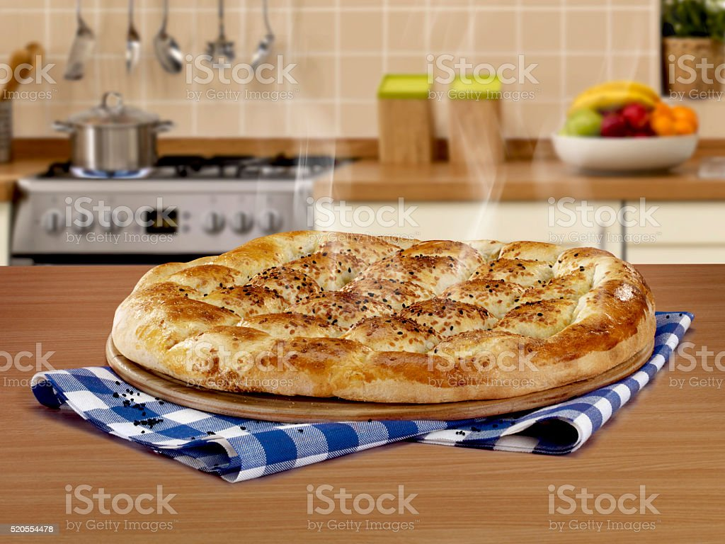 Pide on counter top stock photo