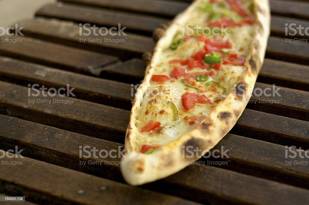 Pide on wood royalty-free stock photo