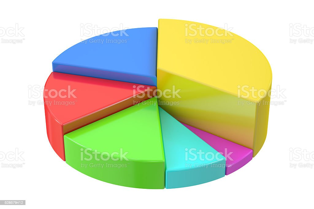 Pie chart 3D rendering stock photo