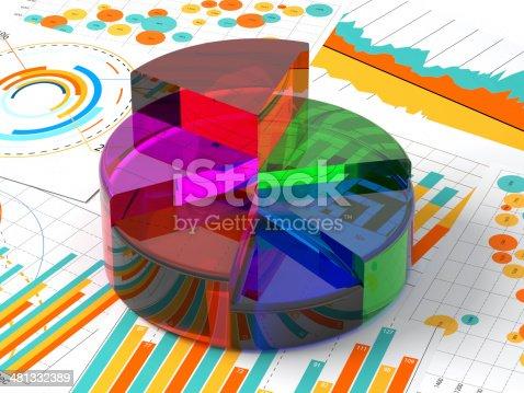istock Pie Chart andGraphs Analyzing Data 481332389