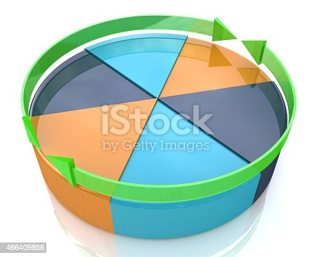 istock Pie chart. Business improvement concept. Finance 3d growth graph 466409856