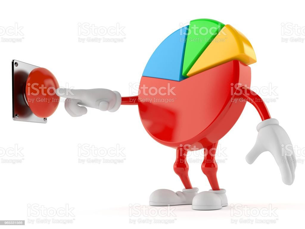 Pie chart character pushing button zbiór zdjęć royalty-free
