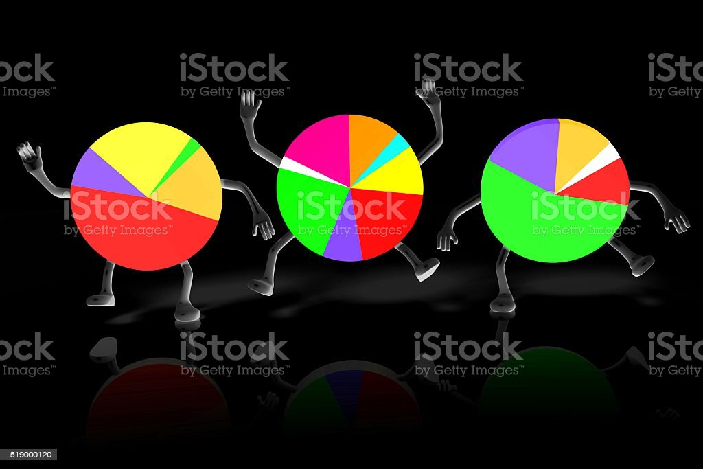 3D pie chart diagrams - cartoons stock photo