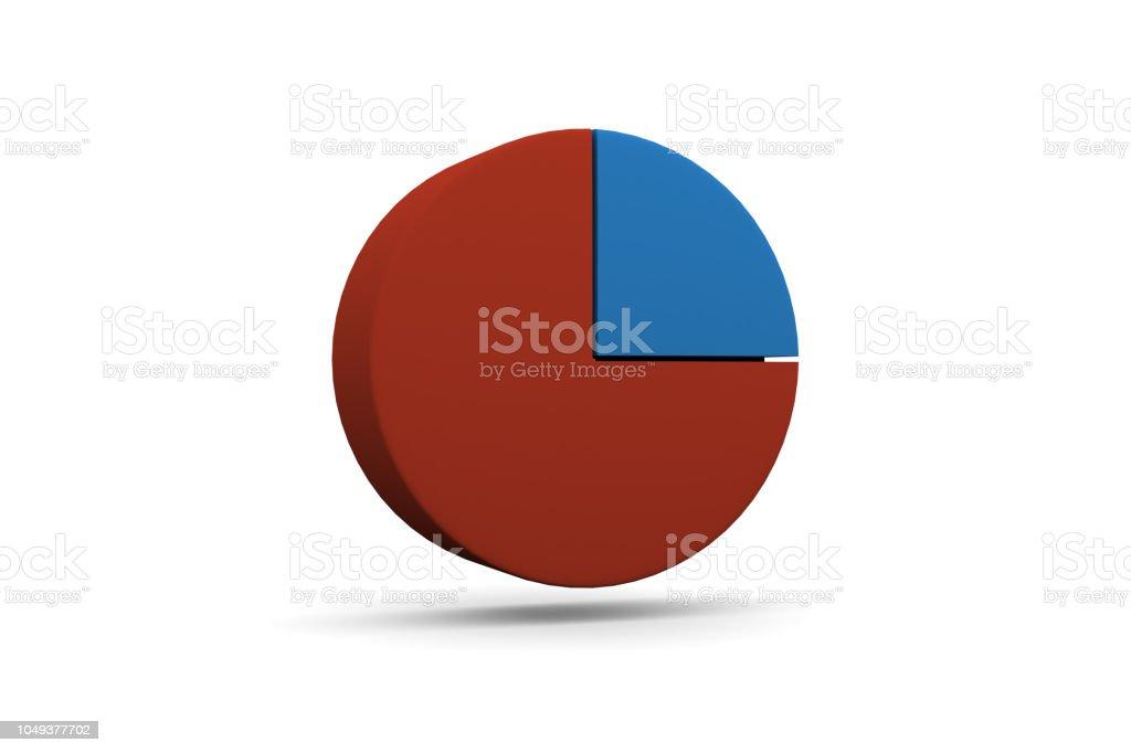 Pie Chart, Graph, 25%, Quarter 1/4 stock photo