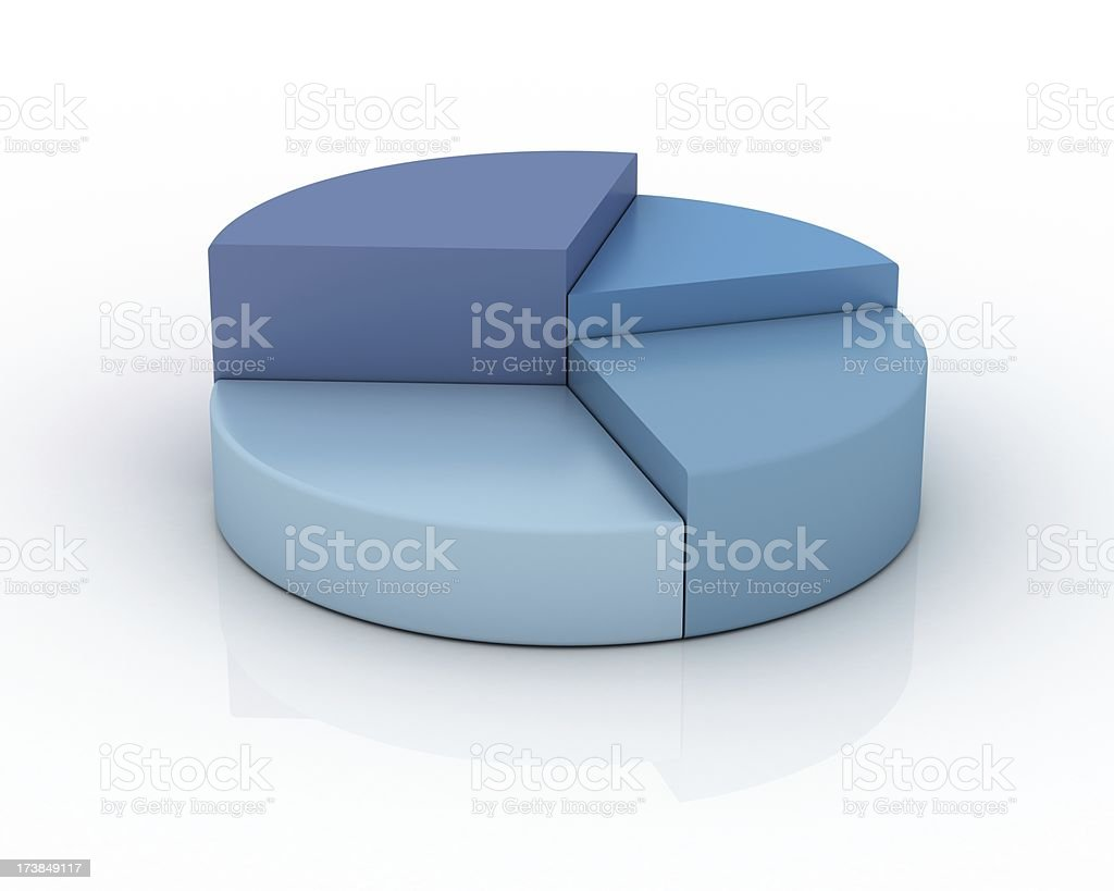 Pie Chart in shades of blue stock photo