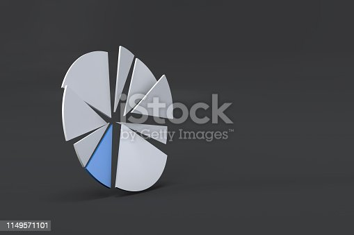 1149620931 istock photo Pie Chart Infographic Element with Blue Piece 1149571101