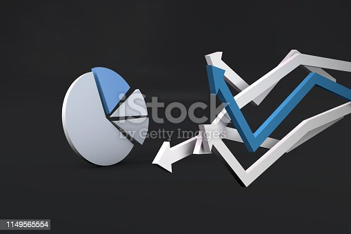 1149620931 istock photo Pie Chart Infographic Element with Finance Arrows 1149565554