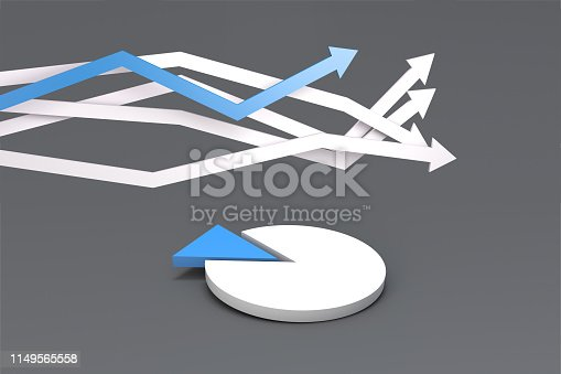 istock Pie Chart Infographic Element with Finance Arrows 1149565558