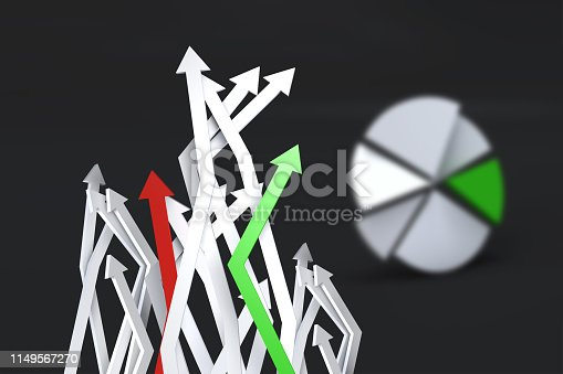 1149620931 istock photo Pie Chart Infographic Element with Finance Arrows 1149567270