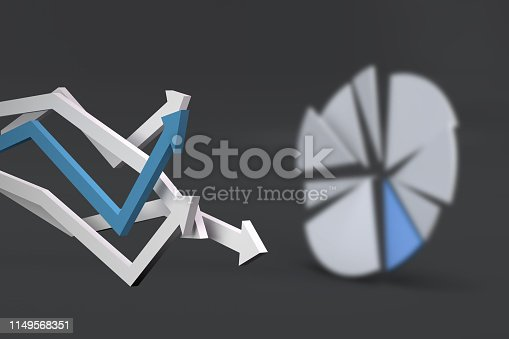 1149620931 istock photo Pie Chart Infographic Element with Finance Arrows 1149568351