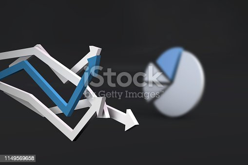 1149620931 istock photo Pie Chart Infographic Element with Finance Arrows 1149569658