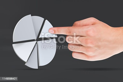 istock Pie Chart Infographic Element with Hand Finger 1149598421
