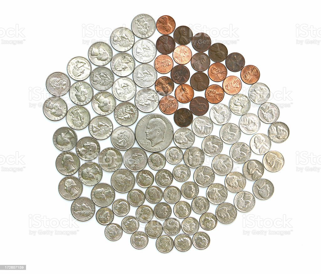 Pie Chart made of Coins stock photo