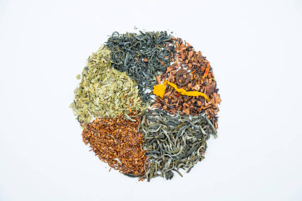 Pie chart made with dry tea leaves. stock photo