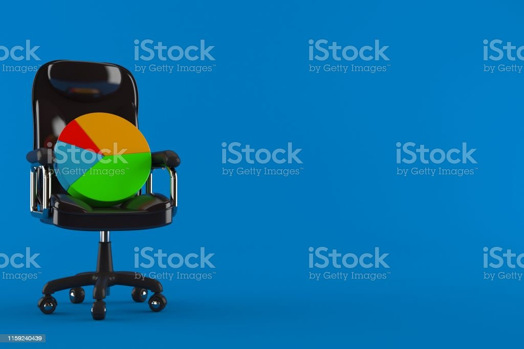 Pie chart on business chair isolated on blue background. 3d...