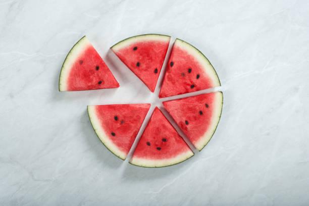 Kreisdiagramm geformt Scheiben frischen organischen Wassermelone auf dem Tisch – Foto