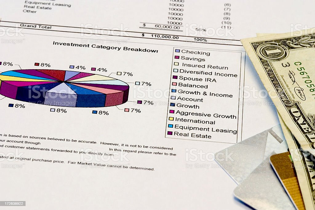 Pie chart with money royalty-free stock photo