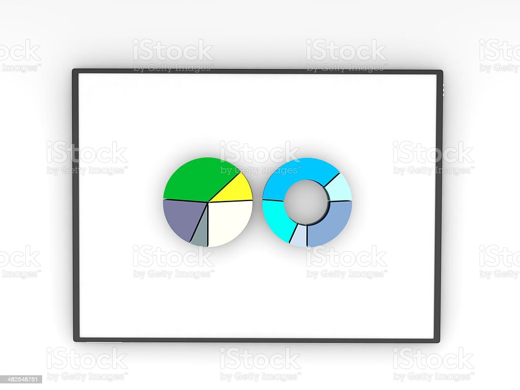 pie charts on an ipad to present 3d data stock photo