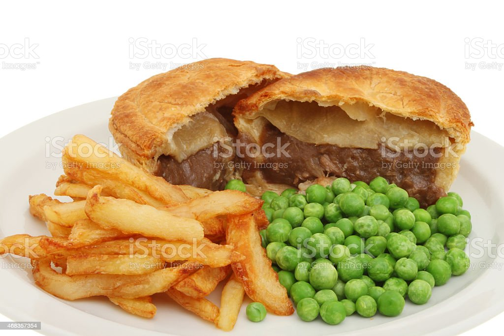Pie chips and peas closeup royalty-free stock photo