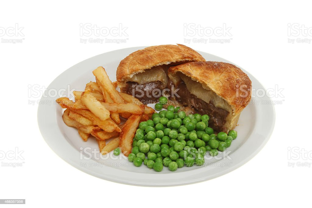 Pie chips and peas royalty-free stock photo