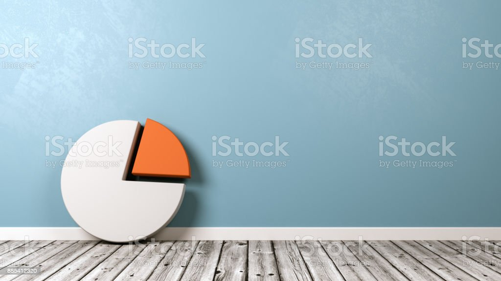 Pie Diagram Shape on Wooden Floor Against Wall stock photo