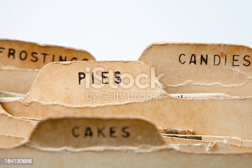 Old fashioned recipe cards dividers for desserts