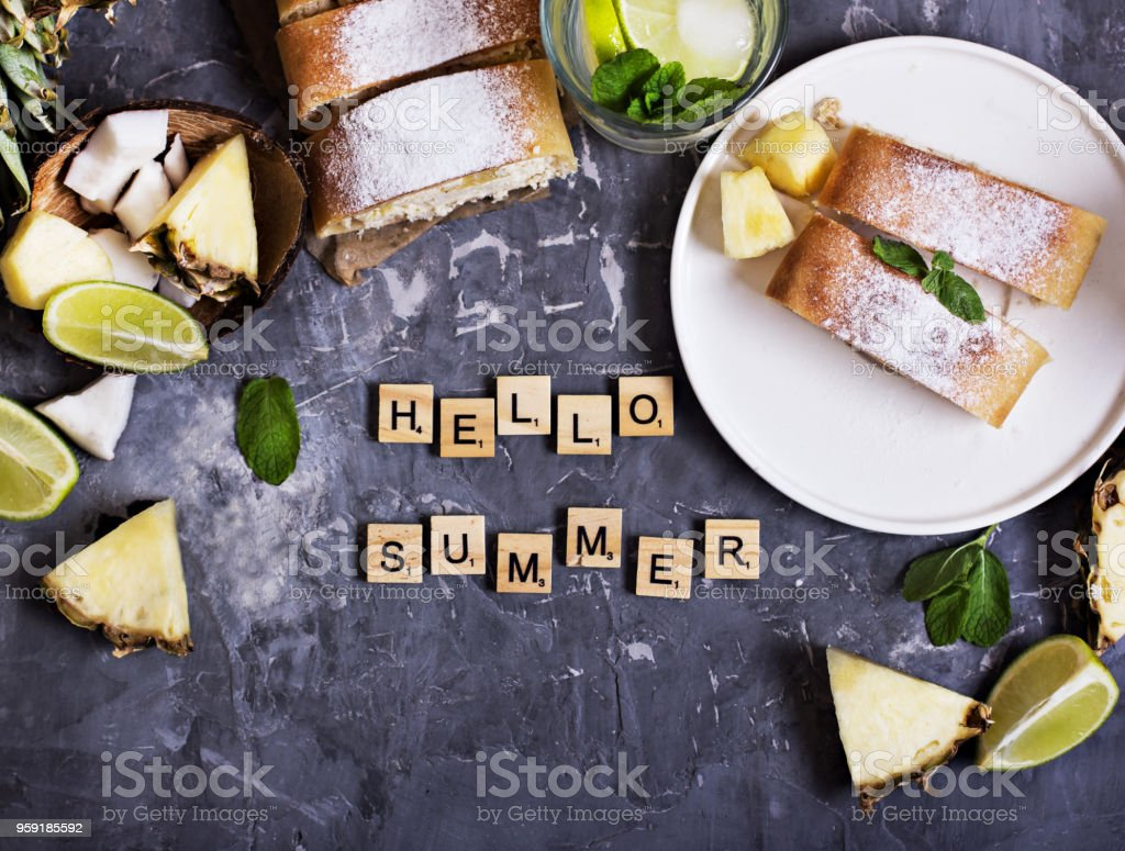 Pie, strudel, cake with cheese and exotic fruits stock photo