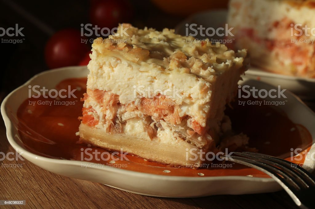 Pie with a fish. stock photo