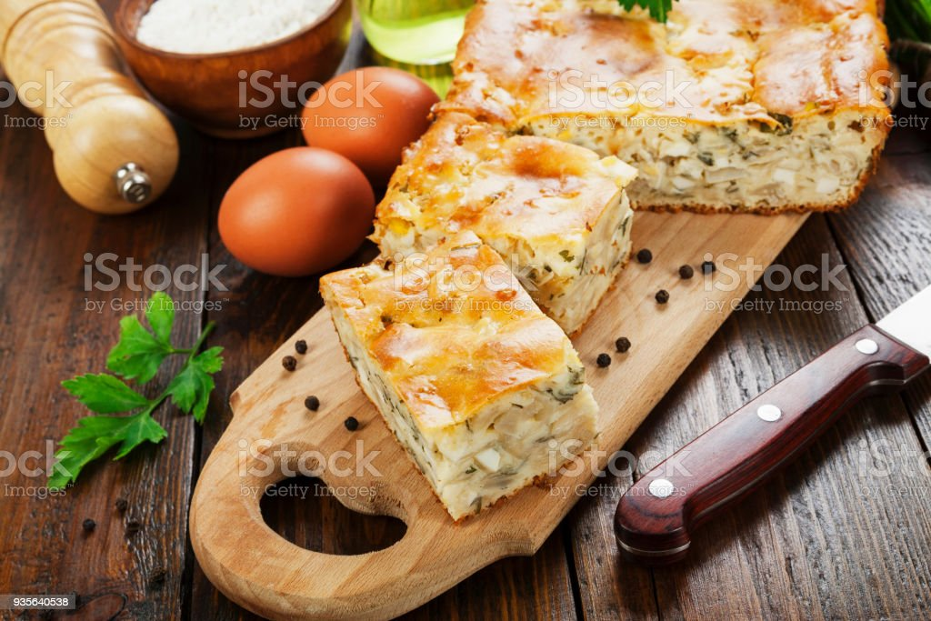 Pie with cabbage and eggs stock photo