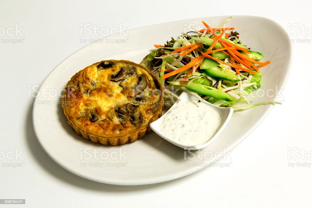 Pie with chopped vegetable and mayonnaise stock photo