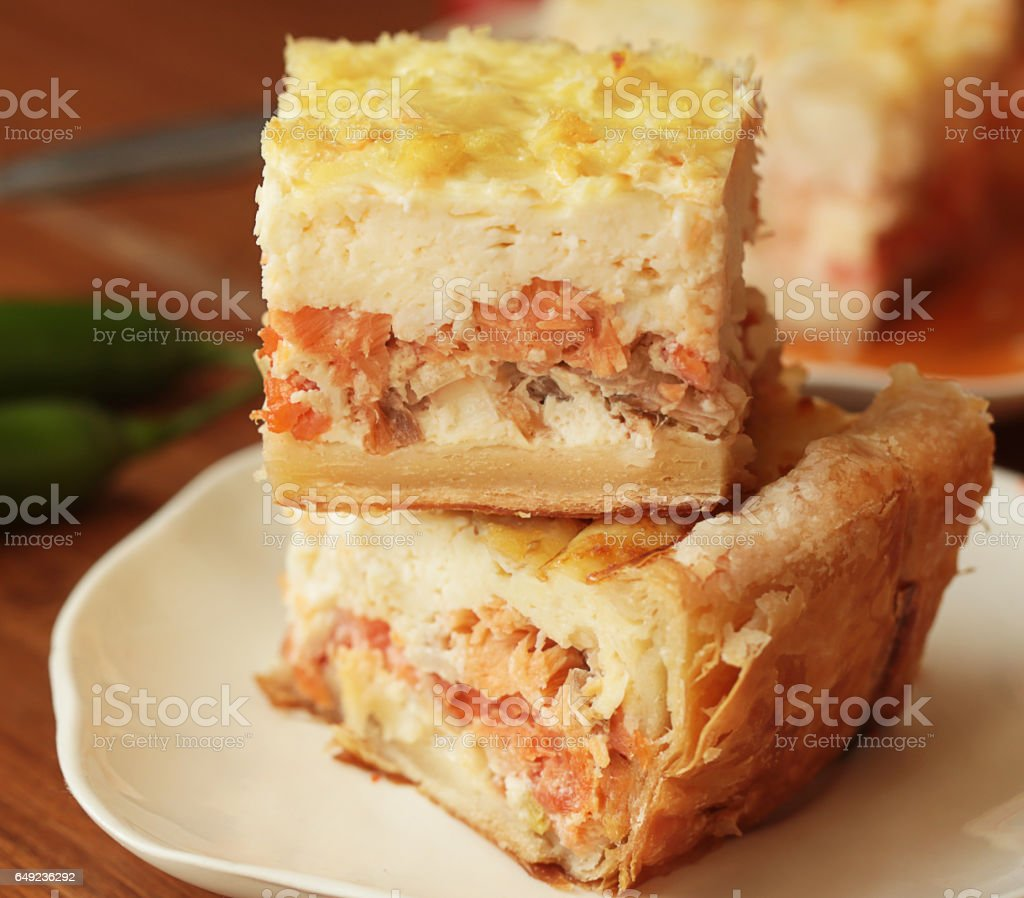 Pie with fish filling. stock photo