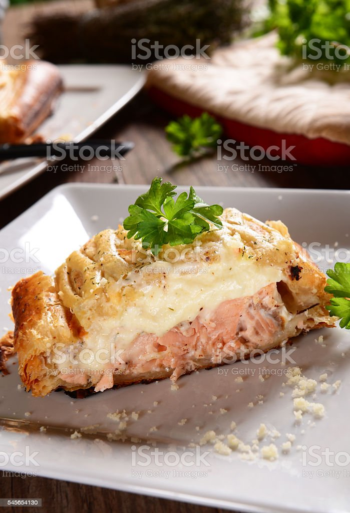 Pie with salmon stock photo