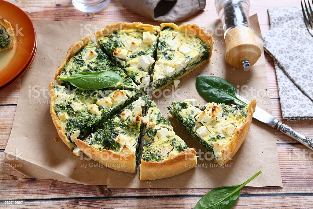 Pie with spinach and feta cheese stock photo