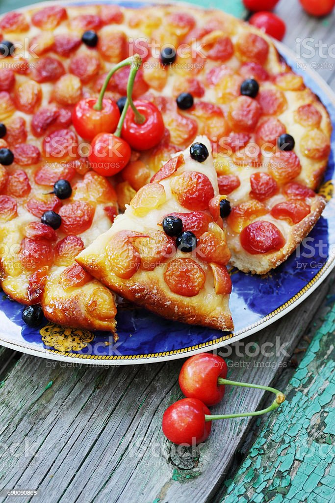 pie with sweet cherries and blueberries royalty-free stock photo