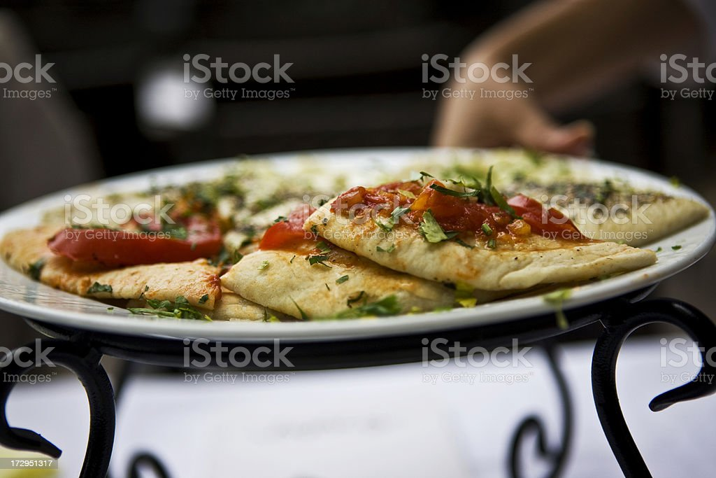 Pie with tomato and parsley royalty-free stock photo