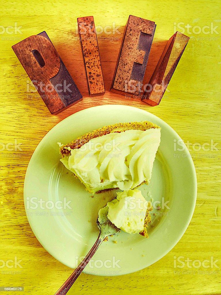 Pie word with slice of pie - foto de acervo