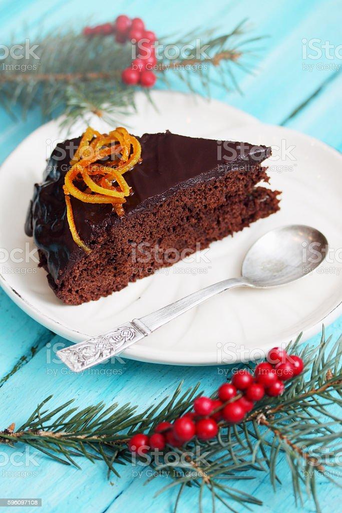 piece Chocolate Christmas dessert royalty-free stock photo