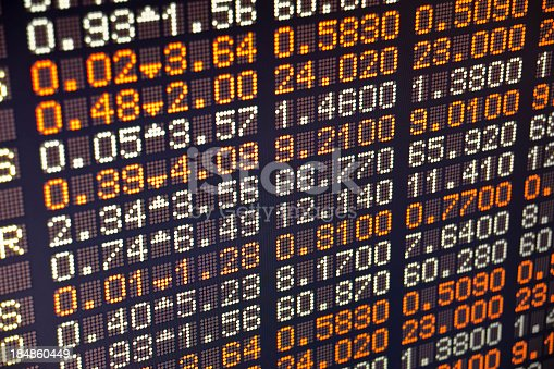 istock A piece of a board of a stock exchange 184860449