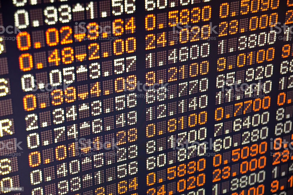 A piece of a board of a stock exchange stock photo