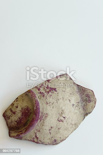 106415613istockphoto Piece of an antique ceramic bowl on white background, space for text 994297768